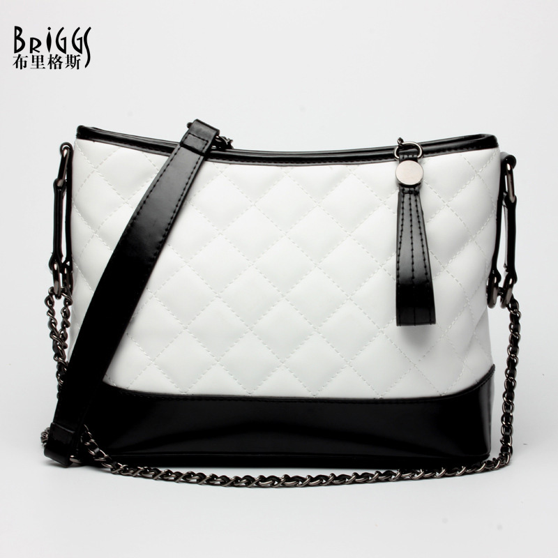 BRIGGS Brand Real Genuine Leather Bags Fashion Plaid Women Messenger Bags Chains Small Crossbody Bags Shoulder Bags For Women 2017 women bucket bags lady cowhide genuine leather shoulder strap messenger bags female simple fashion casual chains mini bags