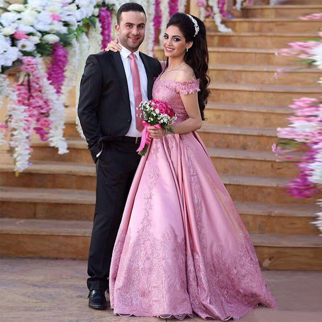 Elegant Pink Evening Dress 2017 New Arabic Engagement Gowns Long Prom Robe Orientale Dubai Middle