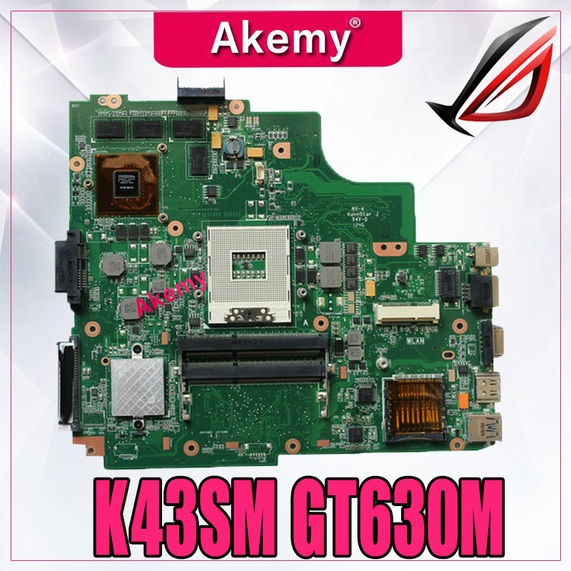 K43SM motherboard REV4.1 GT630M 1GB For ASUS A43S X43S K43S K43SV K43SJ N13P GL2 A1 HM65 DDR3 Laptop mainboard free shipping-in Motherboards from Computer & Office    1