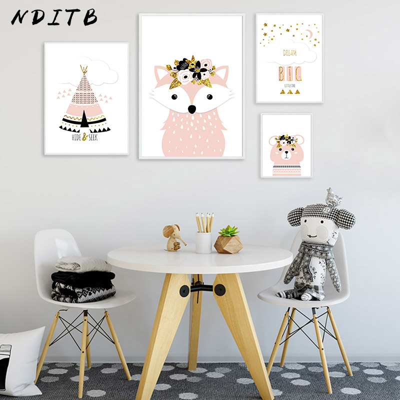 Nditb Cartoon Woodland Animal Poster And Print Fox Bear Nursery Quotes Nordic Wall Painting Prints Baby Girl Room Decor