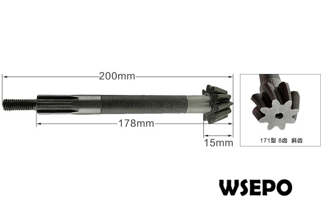 OEM Quality! Driven bevel gear shaft 200mm for 170F(7HP