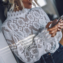 Simplee Elegant white lace blouse shirt Sexy hollow out embr