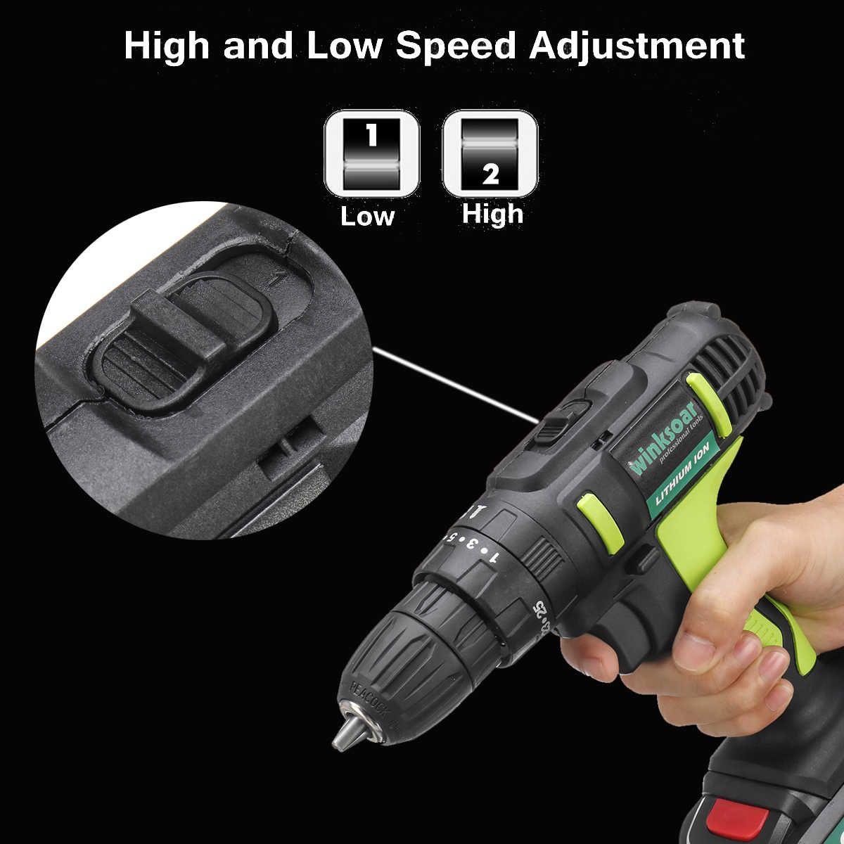 AC 100-240V Electric Screwdriver 48V Cordless Drill Rechargeable LI-ION Battery 25+1 Torque Adjustment Power Tools