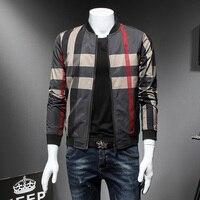 Alta calidad chaqueta de bombardero de los hombres moda 2018 hombres Plaid primavera chaqueta de manga larga slim fit cazadora chaqueta masculina 5XL-M caliente