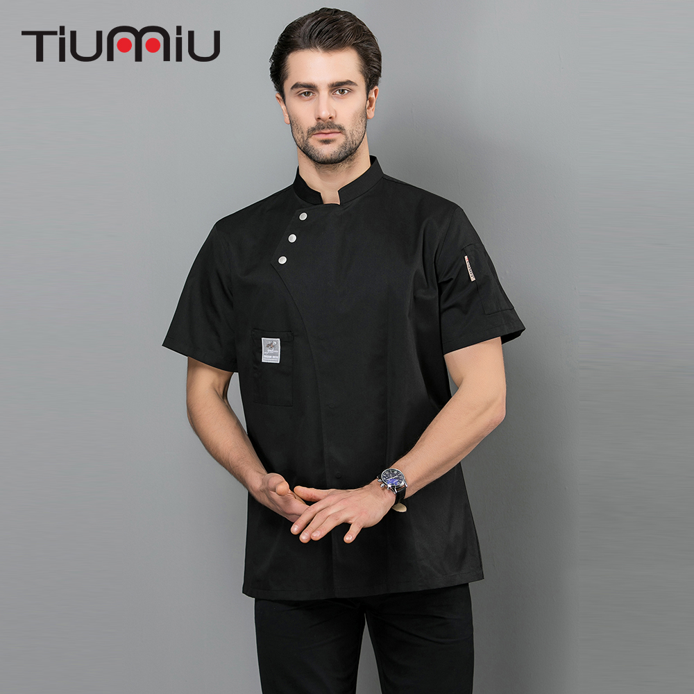 Chef Jacket Uniform Short Sleeve Kitchen Workwear Waiter Waitress Overalls Kitchen Baking Catering Hotel Restaurant Work Clothes