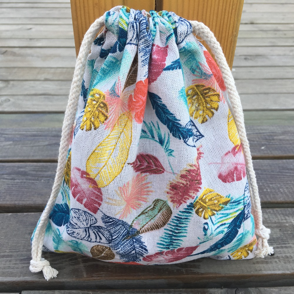 YILE 1pc Cotton Linen Drawstring Organizer Bag Party Gift Bag Print Colorful Leaf YL408h