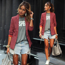M 2019 summer new explosion red long-sleeved lapel plaid small suit female street fashion clothing
