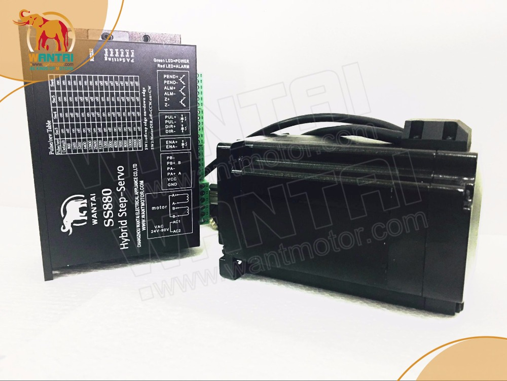 Nema 34 closed loop stepper motor 9NM 6A&Servo driver SS880+3m cables 2 phase 8 5n m closed loop stepper servo motor driver kit 86j18118ec 1000 2hss86h cnc machine motor driver
