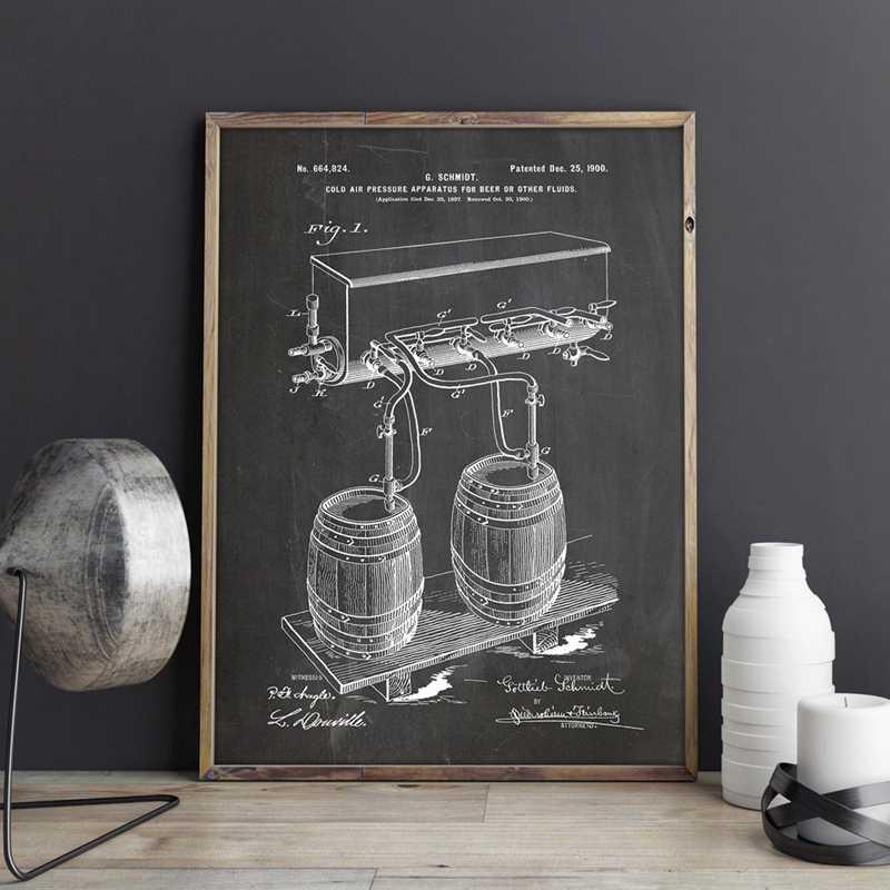 Bière Fût Froid Pression D Air Robinet Brevet Imprime Mur