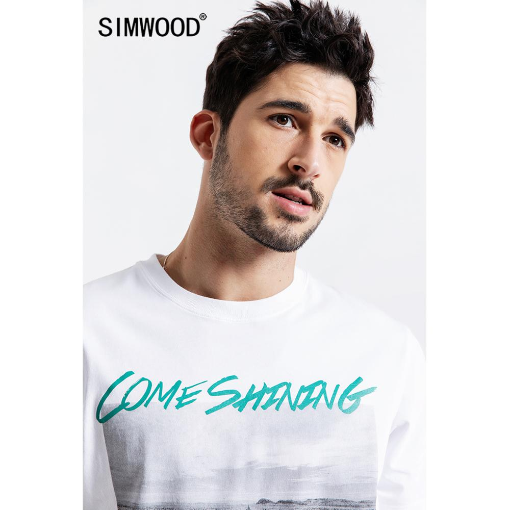 SIMWOOD 2019 Summer   T  -  Shirt   Men Fashion 100% Cotton Casual   t     shirt   Letter Printed Tees High Quality Plus Size camiseta 190048