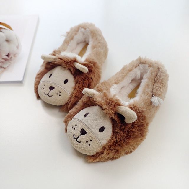 94ec395f250 Cartoon Lovely lion home slippers Child anti-slip girls boys warm slippers  couple plush winter cute warm Slippers for women C429