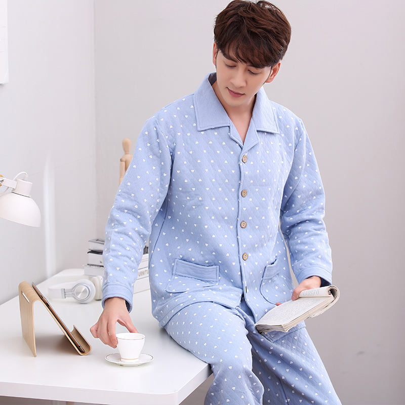 Pajamas Men's Autumn And Winter Thick Long-sleeved Laminated Air Blue Cotton Home Service Male Warm Plus Size Thin Quilted Suit