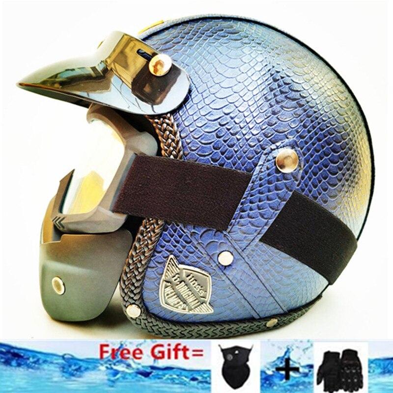 Bleu PU En Cuir Harley Casques 3/4 Moto Chopper Vélo casque ouvert visage vintage moto casque avec lunettes masque