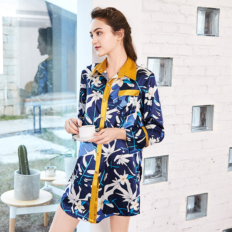 NG0229 New Fashion Women   Nightgown     Sleepshirts   Lady Flower Floral Print Nightdress Nightwear Female Home Clothing Sexy Sleepwear