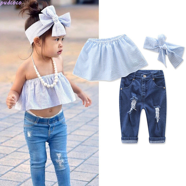 82601c0d6bdbfc 2PCS Fashion Baby Girls Kids Clothing Set Jeans Summer Casual Off Shoulder Striped  Crop Tops Ripped Denim Pants Outfits Set