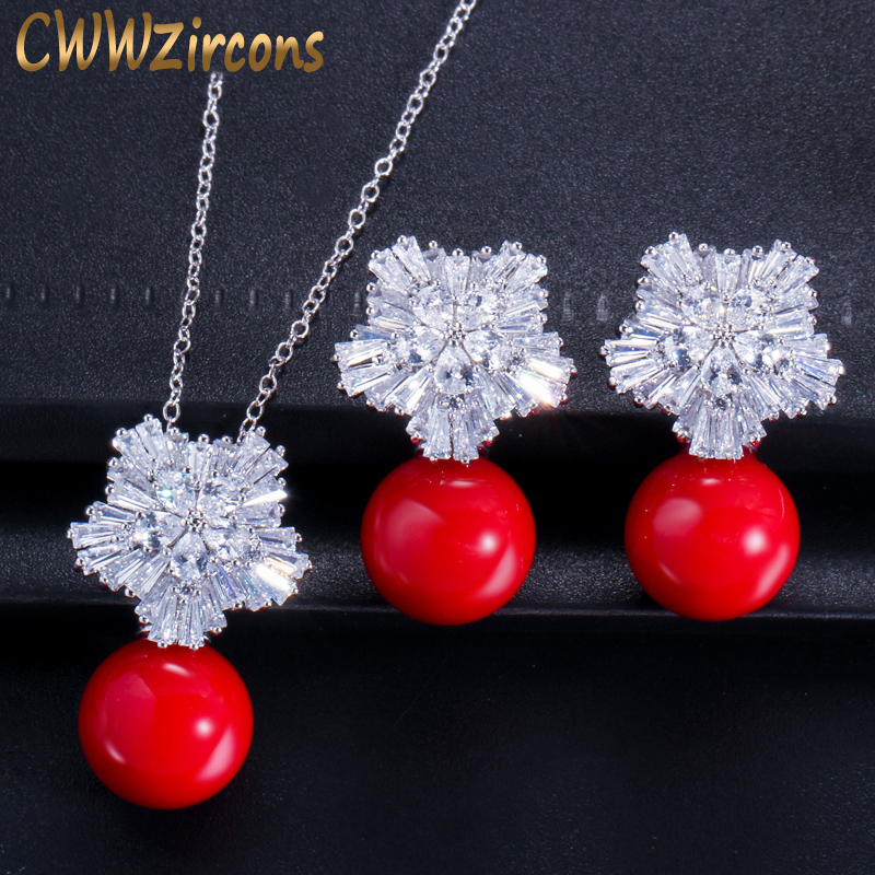 CWW New Fashion Jewelry Cubic Zircon Flower Big Red Pearl Pendant Necklace And Earrings Set For Ladies Best Friend Gift T209