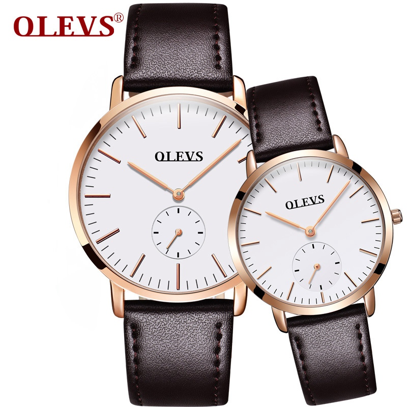 1 pair OLEVS Brand Watch Luxury Couples Watches Business Style Lovers Men Women Waterproof Quartz Charms Leather Wristwatches keep in touch couples watch for lovers business luxury men and women wristwatches quartz waterpoof calerdar wedding gifts
