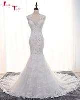 Jark Tozr V Neck Zipper Back Crystal Pearls Appliques White Tulle Princess Mermaid Bride Wedding Dresses