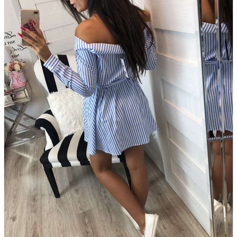 2018 Casual Women Shirts Dress Elegant Off Shoulder Striped Dresses Short Bow Ties Summer Dress Vestidos 1