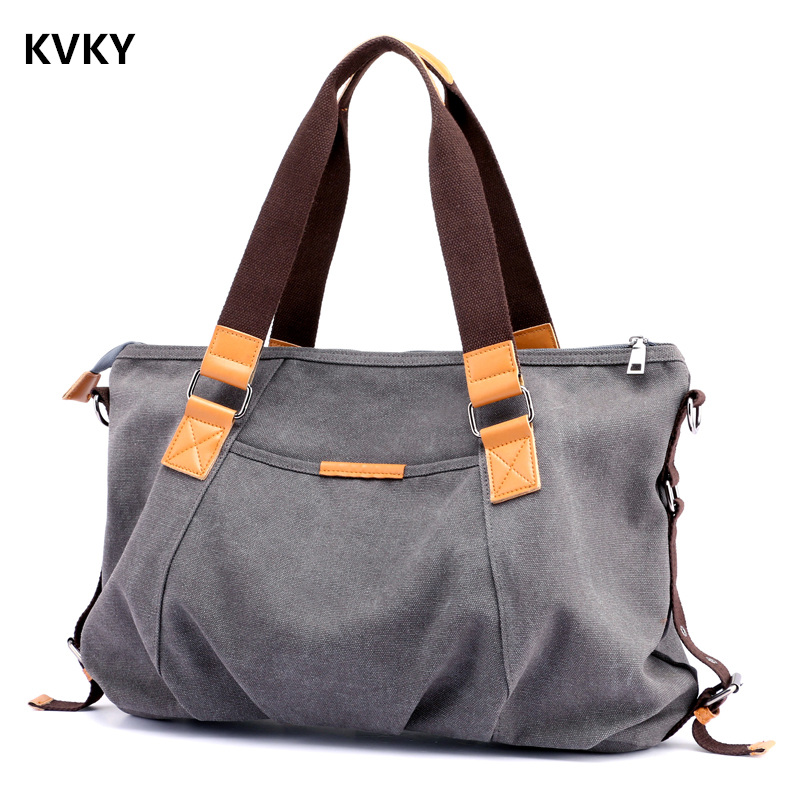 KVKY New Women's Canvas Handbag Large Capacity Handbag Women's Shoulder Bag Brand Messenger Bag Women's Shopping Bags Bolsa kvky vintage woman canvas handbags large capacity casual tote women shoulder bag brand messenger bags ladies shopping bag bolsa