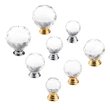 цены 1Pc 20mm-40mm Glass Crystal Knob Furniture Handle Cabinet Knobs and Handles Door Cupboard Kitchen Pull Handle Furniture Hardware