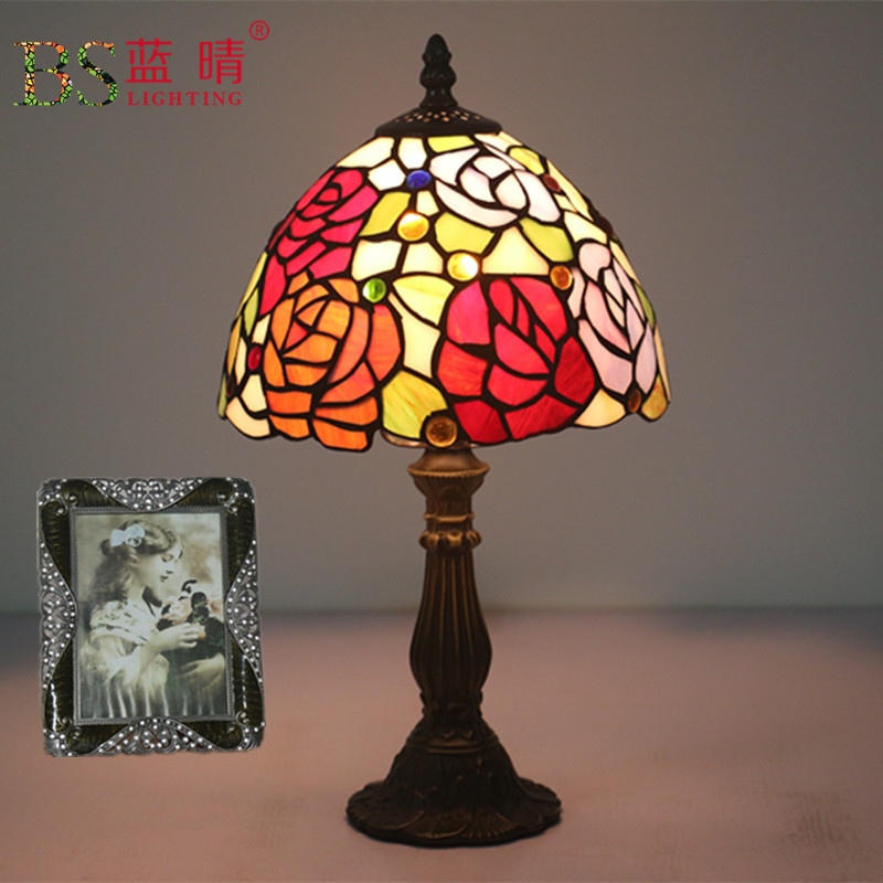 Antique Nordic Art Deco Turkish Mosaic Rustic Stained Glass Red Bedroom  Bedside Desk Office Table Lamp Light For Living Bed Room