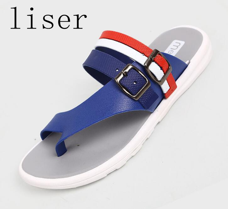 Detail Feedback Questions about liser New Summer Men Casual Flip Flops  Stripe Slippers Shoes PVC Flat With Bath Slippers Footwear Sandals Outdoor  Beach ... 6c61717fbd4b