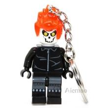 179 Ghost Rider Mrvel Super Hero Keyring Minifigures Keychain Keys Custom Ring Keychains Handmade Key Chain Building Blocks Toy