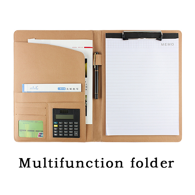 Multifunction A4 leather folder padfolio soft cover office stationery organizer File folder with calculator and notepad a4 manager folder multifunction leather office folder includes 12 bit calculator clipboard business organizer folder