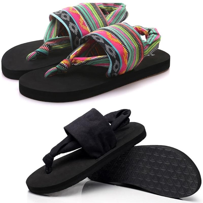 Women Shoes Flip Flops EVA Sole Cloth Belt Summer Bohemian Style Beach SandalsWomen Shoes Flip Flops EVA Sole Cloth Belt Summer Bohemian Style Beach Sandals