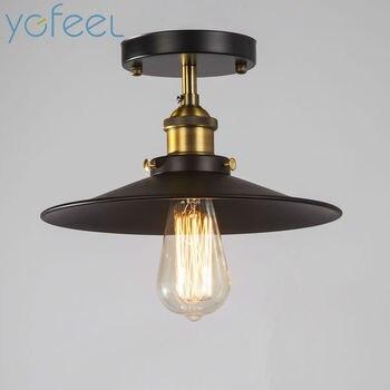 [YGFEEL]โคมไฟเพดานชนบทวินเทจย้อนยุคสไตล์โลหะสเปรย์จิตรกรรมกระบวนการบาร์คาเฟ่ร้านอาหารห้องใ...