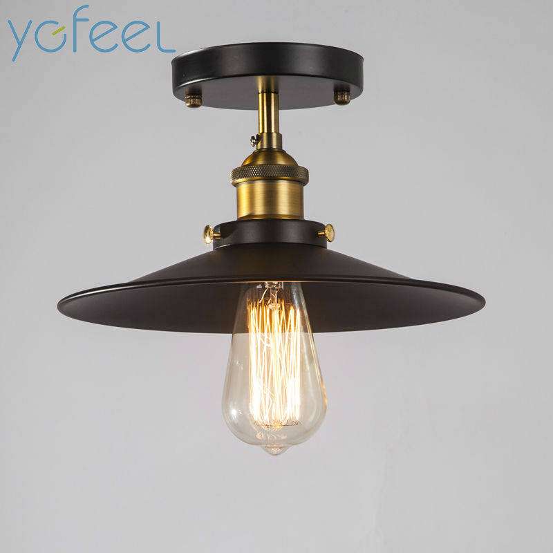 [YGFEEL] Ceiling Lights Rural Vintage Retro Style Metal Spray Painting Process Bar Cafe Restaurant Attic Corridor Balcony Light european rural bird marble hemp rope chandelier cafe restaurant corridor balcony chandelier size 33 38cm e27 ac110 240v