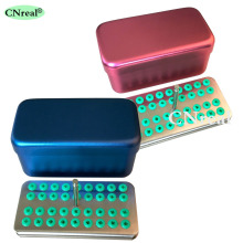 36 Holes Dental Disinfection Sterilization Holder Block Box Case with Silicone Holders for Scaler Tips & Diamond Burs