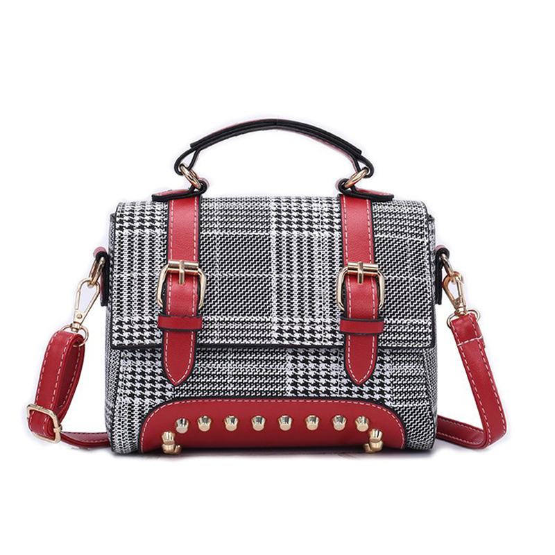 Female Plaid Handbag Casual Women Messenger Bags Rivet Strap Ladies Fashion Leather Shoulder Bag Girl Shopping Phone Bag