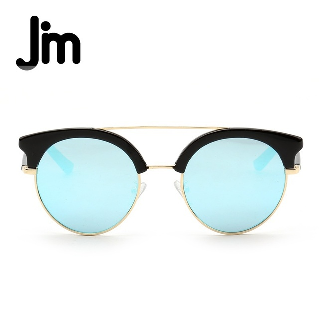 3cca4afad6b JM Vintage Retro Semi-Rimless Browline Frame Double Bridge Brand Design Sunglasses  Women Shades Mirrored Lens UV400 Sun Glasses