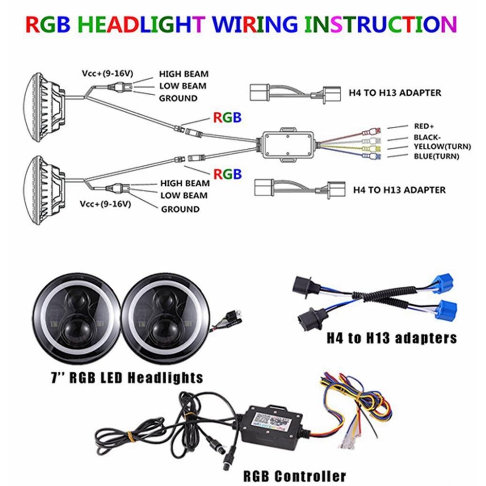 TNOOG 7 Inch LED Headlight RGB Halo Ring Angel Eyes & Amber Turn Signal on