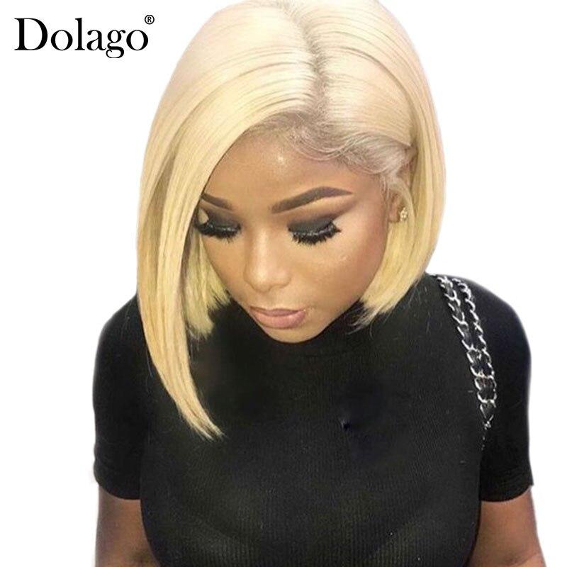 613 Avant de Lacet de Cheveux Humains Perruques Sans Colle Droite Bob Cut Perruques Transparent 13x4 Perruques Courtes Miel Blonde Remy cheveux Dolago Complet Fin