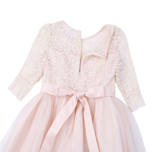 Image 5 - Girls Floral Lace Mesh Half Sleeves Flower Girl Dress A Line Tea Length Princess Pageant Birthday Wedding Party Dress SZ 4 14