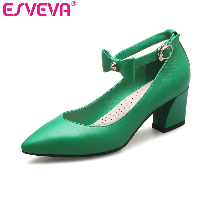 ФОТО ESVEVA 2017 Sweet Square High Heel Women Pumps Pointed Toe Green Party Shoes Concise Ankle Strap Women Weddding Shoes Size 34-39