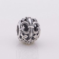 Fits Pandora Charms Bracelet Authentic 925 Sterling Silver Openwork Fleur De Lis Charms With Crystal Cz