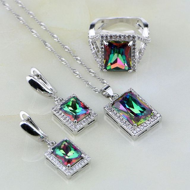Natural Square Mystic Rainbow Fire White zircon 925 Silver Jewelry Set