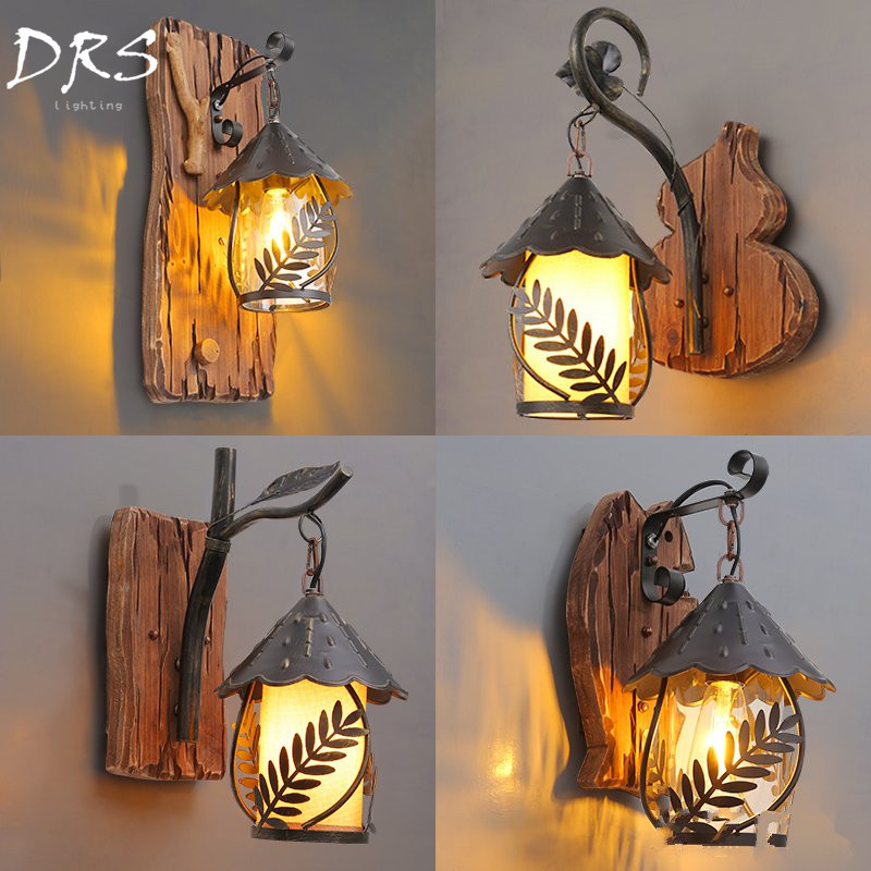American Industrial Wall Lamp Living Room Aisle Bedroom Bedside Wooden Wall Lamp Hotel Bar Staircase Deco Lighting|LED Indoor Wall Lamps|Lights & Lighting - title=