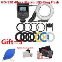 HD 130 48pcs Macro LED Ring Flash Bundle with 8 Adapter Ring for Canon Nikon Pentax Olympus Panasonic DSLR Camera