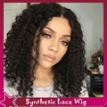 "Afro kinky curly synthetic glueless lace front wig middle part3-4inch 150%swiss brown lace peruca sintetica 22""1b# fastshipping"
