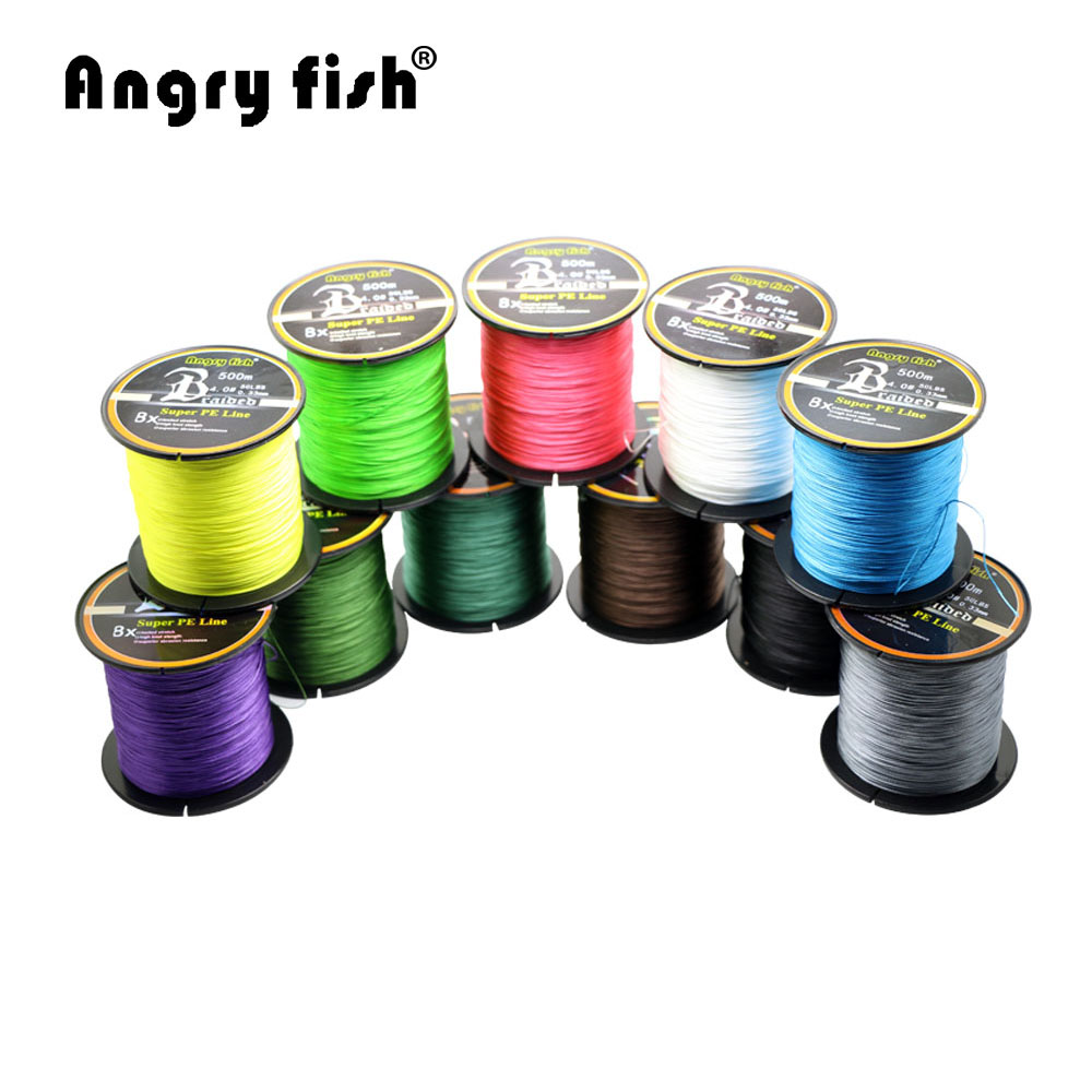 Wholesale 500 meters 8x braided fishing line 11 colors for Bulk braided fishing line