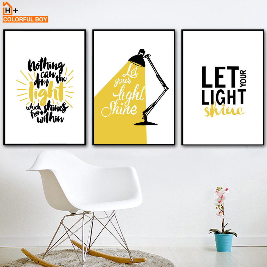 COLORFULBOY Light Letter Life Quote Wall Art Print Canvas Painting ...