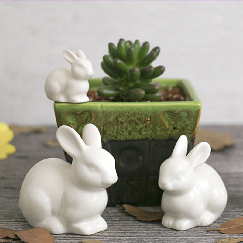 lovely ceramic pottery rabbit family hare animal white home decoration desktop ornaments craft miniature figurines fairy garden(China)