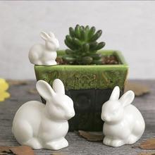lovely ceramic pottery rabbit family hare animal white home decoration desktop ornaments craft miniature figurines fairy