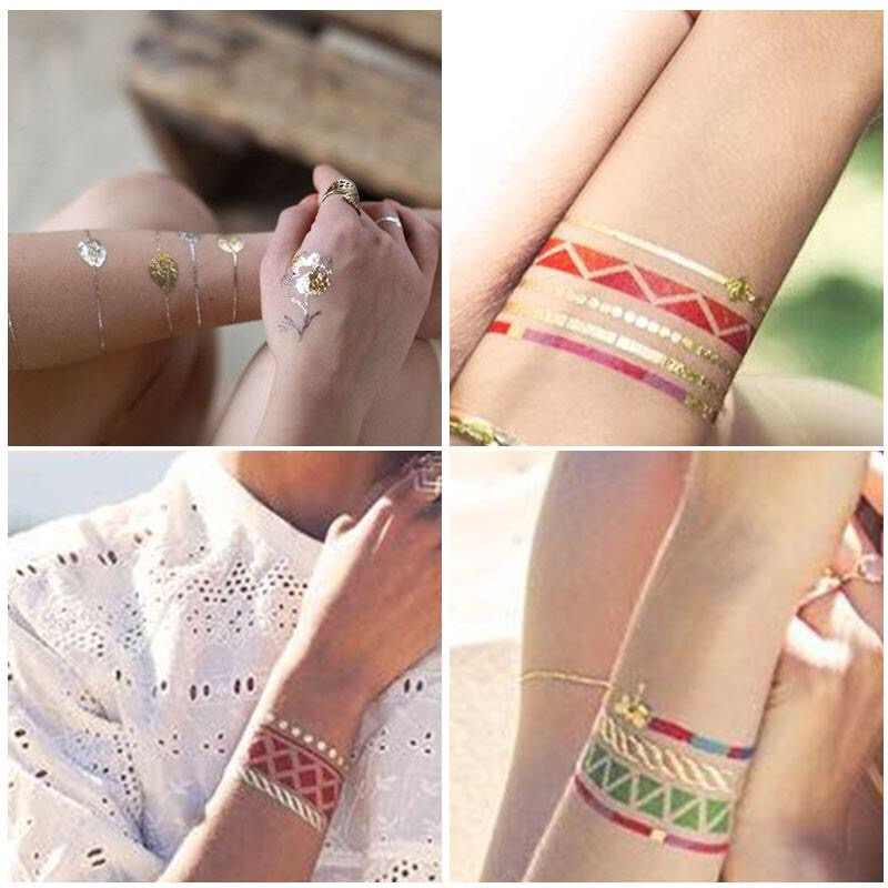 Detail Feedback Questions about Flash Tattoos Gold Silver Metal ...