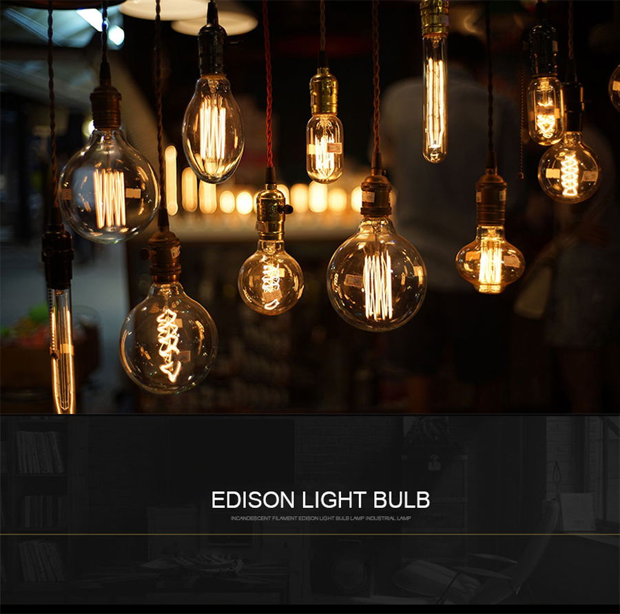 Ampoule Vintage Edison Bulb Lamp E27 40W G125 ST64 G80 T30 220V Filament Lamp Pendant Lights Bulbs For Decor Chandelier Lighting